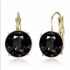 BLACK SAPPHIRE GOLD PLATED EARRINGS